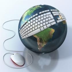 Globe with keyboard around